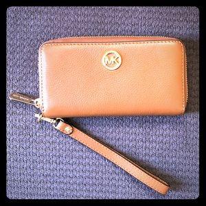 Leather Michael Kors wristlet wallet
